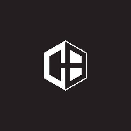 CB C B BC monogram with triangle and hexagon shape combination isolated on black and white colors 向量圖像