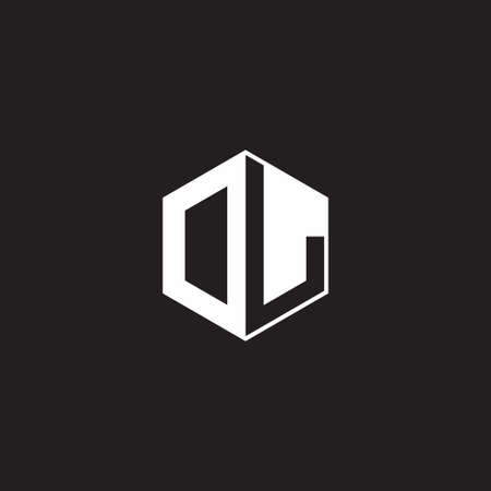 DL OL monogram hexagon with black background negative space style