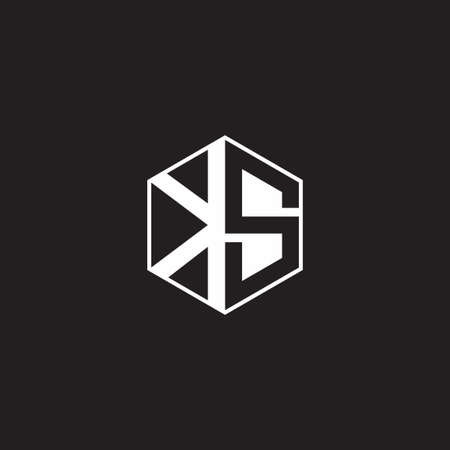 KS K S SK monogram with triangle and hexagon shape combination isolated on black and white colors