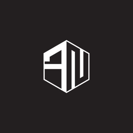 FN F N NF monogram hexagon with black background negative space style