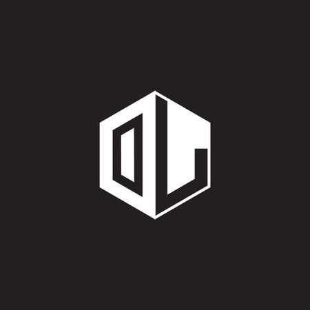 OL O L LO monogram hexagon with black background negative space style Ilustração