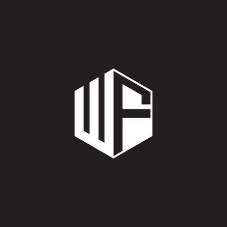 WF W F FW monogram with triangle and hexagon shape combination isolated on black and white colors