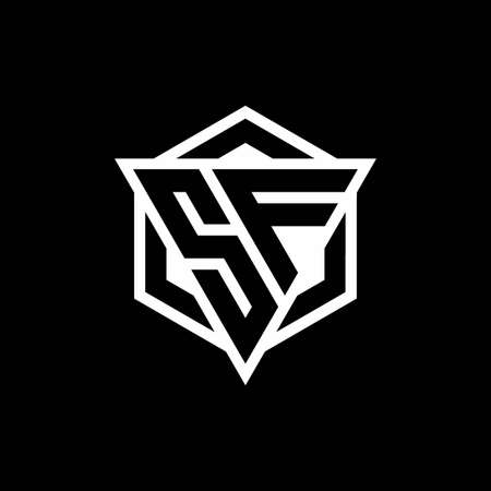 SF monogram with triangle and hexagon shape combination isolated on black and white colors