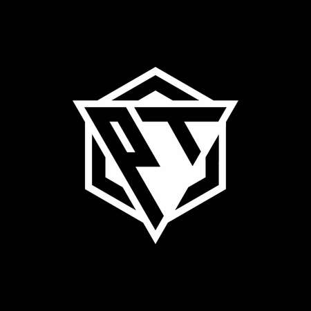 PT monogram with triangle and hexagon shape combination isolated on black and white colors