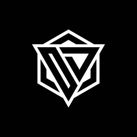 OD monogram with triangle and hexagon shape combination isolated on black and white colors