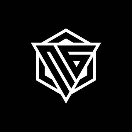 NG monogram with triangle and hexagon shape combination isolated on black and white colors Vektoros illusztráció