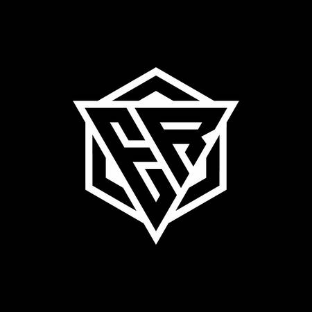 ER monogram with triangle and hexagon shape combination isolated on black and white colors