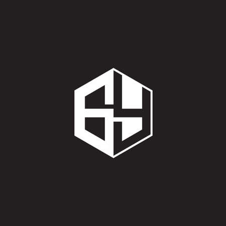 GY G Y YG monogram with triangle and hexagon shape combination isolated on black and white colors