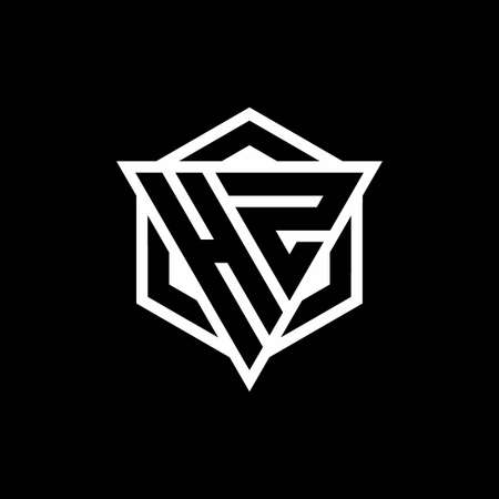 HZ monogram with triangle and hexagon shape combination isolated on black and white colors Vektoros illusztráció