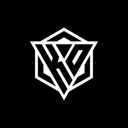 KO monogram with triangle and hexagon shape combination isolated on black and white colors Ilustracje wektorowe