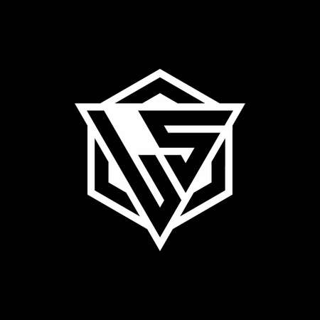 LS monogram with triangle and hexagon shape combination isolated on black and white colors
