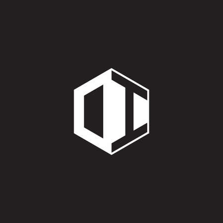 DI OI monogram hexagon with black background negative space style