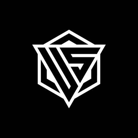 US monogram with triangle and hexagon shape combination isolated on black and white colors Ilustração