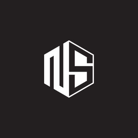 NS N S SN monogram hexagon with black background negative space style