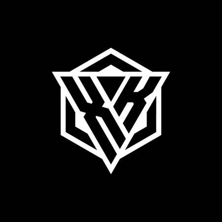 XK monogram with triangle and hexagon shape combination isolated on black and white colors
