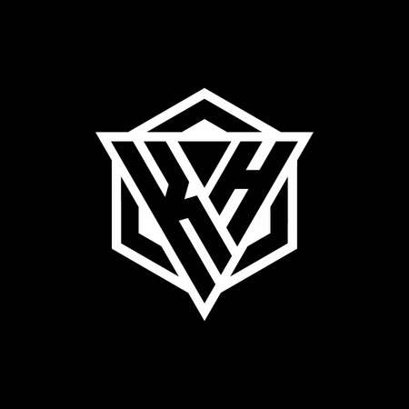 KH monogram with triangle and hexagon shape combination isolated on black and white colors 向量圖像