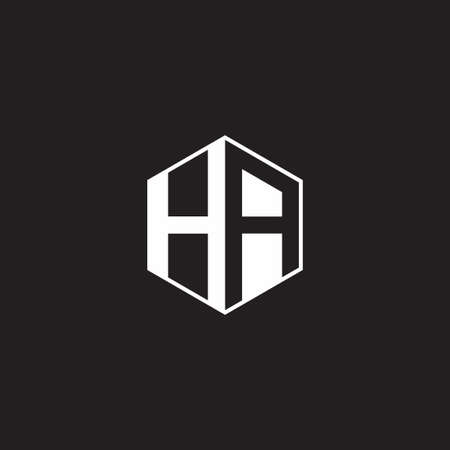 HA H A AH monogram hexagon with black background negative space style 向量圖像