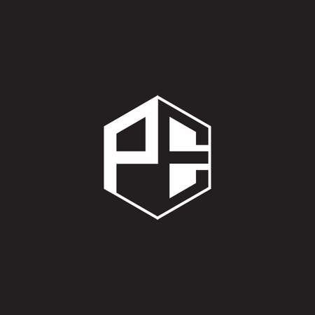 PE P E EP monogram hexagon with black background negative space style 向量圖像