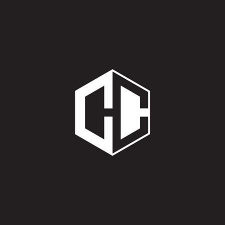 CC C monogram hexagon with black background negative space style