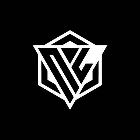 NL monogram with triangle and hexagon shape combination isolated on black and white colors