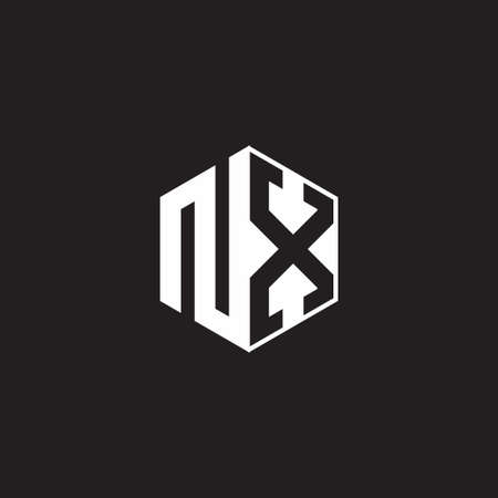 NX N X XN monogram hexagon with black background negative space style 向量圖像