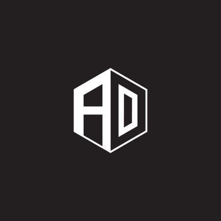 AO A O OA monogram hexagon with black background negative space style