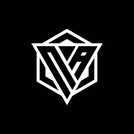 NA logo monogram with triangle and hexagon shape combination isolated on back and white colors