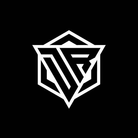 DR monogram with triangle and hexagon shape combination isolated on black and white colors