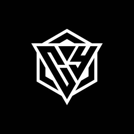 CY monogram with triangle and hexagon shape combination isolated on black and white colors