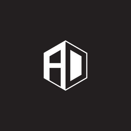 AD A D DA monogram hexagon with black background negative space style