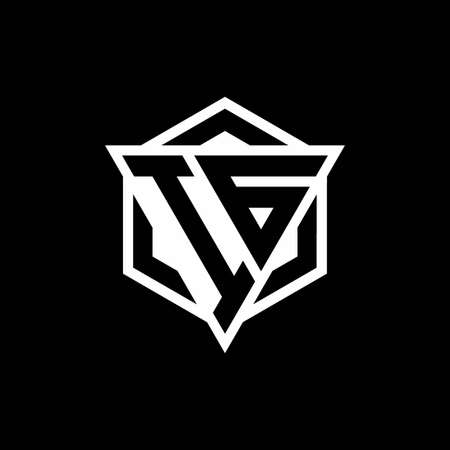 IG monogram with triangle and hexagon shape combination isolated on black and white colors 向量圖像