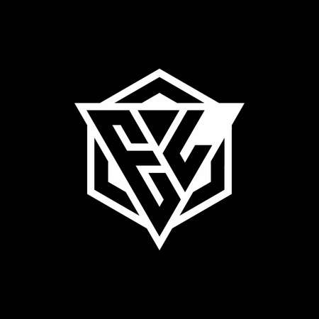 EL monogram with triangle and hexagon shape combination isolated on black and white colors