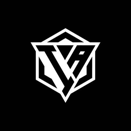 IA monogram with triangle and hexagon shape combination isolated on black and white colors
