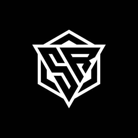 SR monogram with triangle and hexagon shape combination isolated on black and white colors