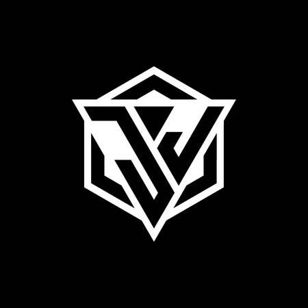 JJ monogram with triangle and hexagon shape combination isolated on black and white colors 向量圖像