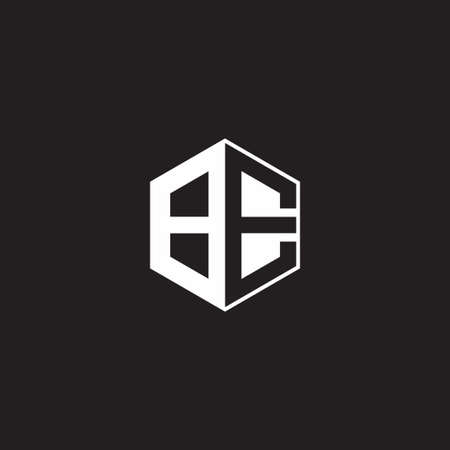 BE B E EB monogram hexagon with black background negative space style
