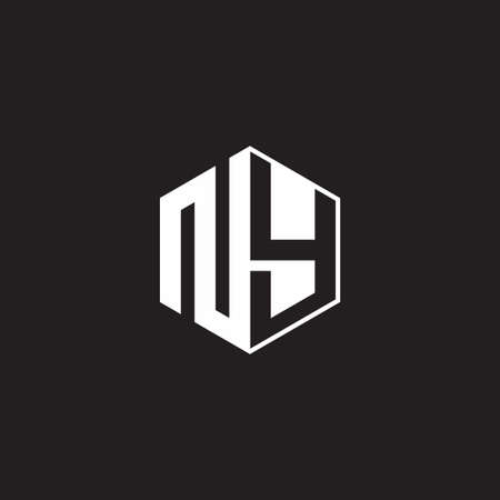 NY N Y YN monogram hexagon with black background negative space style 向量圖像