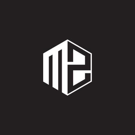 MZ M Z ZM monogram hexagon with black background negative space style 向量圖像