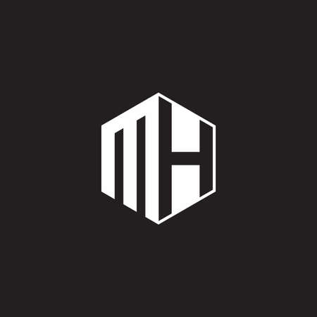 MH M H HM monogram hexagon with black background negative space style