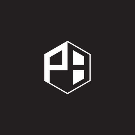PB monogram hexagon with black background negative space style