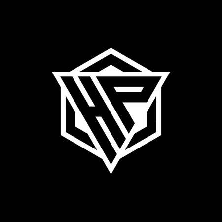 HP monogram with triangle and hexagon shape combination isolated on black and white colors 向量圖像