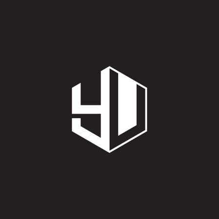 YU Y U UY monogram hexagon with black background negative space style 向量圖像