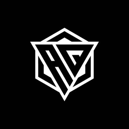 AQ  monogram with triangle and hexagon shape combination isolated on black and white colors