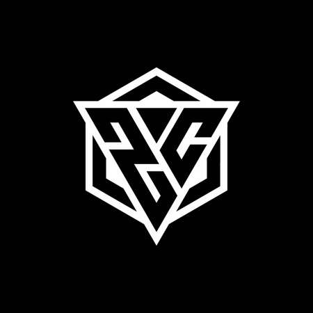 ZC monogram with triangle and hexagon shape combination isolated on black and white colors 向量圖像