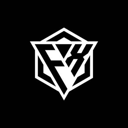FX monogram with triangle and hexagon shape combination isolated on black and white colors
