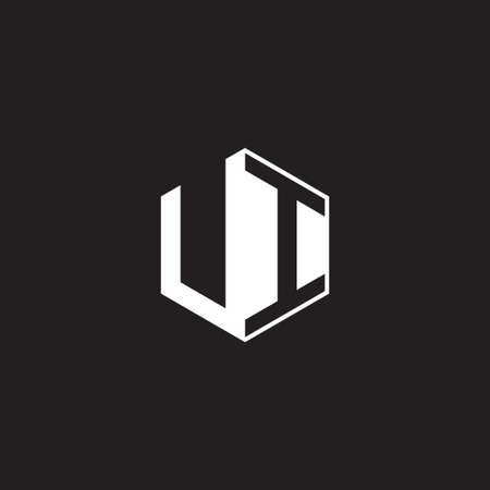 UI U I IU monogram hexagon with black background negative space style