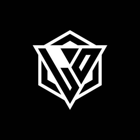 LO monogram with triangle and hexagon shape combination isolated on black and white colors 向量圖像