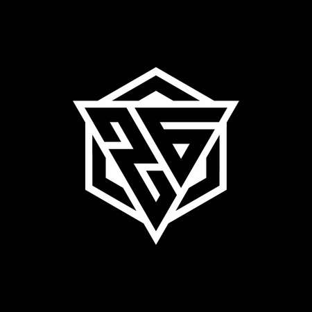 ZG monogram with triangle and hexagon shape combination isolated on black and white colors