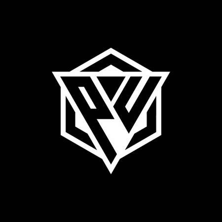 PU monogram with triangle and hexagon shape combination isolated on black and white colors