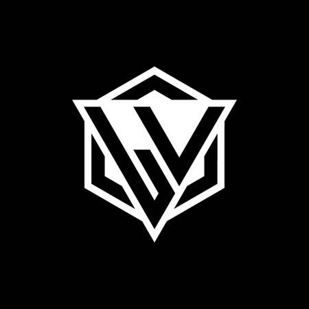 LV monogram with triangle and hexagon shape combination isolated on black and white colors